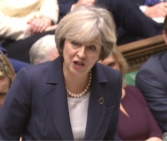 Prime Minister Theresa May during PMQs on 23 November sticks to her social care script