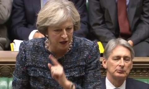 Theresa May on her 100th day as PM during PMQs Credit: Parliament TV