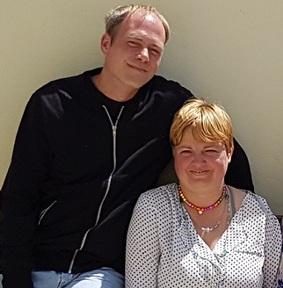 Happy couple: L-R Matt and Kerry  Credit: Teresa Walker