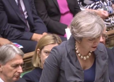 Philip Hammond and Theresa May during PMQs on 11 October Credit: Parliament TV
