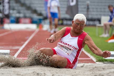 Credit: Alex Rotas Photography - Denmark's Rosa Pederson, 87, winning the women's long jump, clearing 2.72m