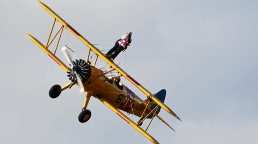 Daredevil gran stuns onlookers with 4th wing walk at 90